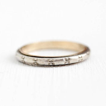 Vintage Sterling Band - 10k Gold Filled & Sterling Silver Circle Design Ring - 1940s Size 8 3/4 Two Tone Dotted Stacking Vargas Jewelry