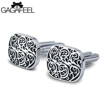 GAGAFEEL Vintage Pattern Shirt Cufflinks For Men Shirts Tie Clip Square Paint Color Copper Metal Jewelry Gift For Boyfriend