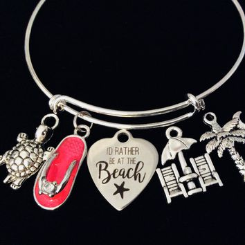 I Would Rather Be At the Beach Expandable Charm Bracelet Turtle Palm Tree Flip Flop Nautical Jewelry Vacation One Size Fits All Gift