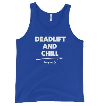 Deadlift and Chill Blue Unisex Tank Top