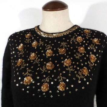 Gem Sequin Sweater Vintage 1980s Knit Black Gold Beaded Size L