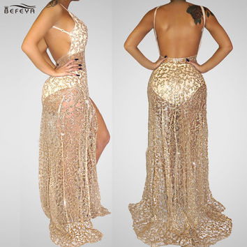 2016 Autumn Fashion High Quality Lace Patchwork Sleeveless elegant Holiday dress vestidos Floor-Length gold Sequined Maxi Dress