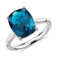 London Blue Topaz Cushion Cut Ring in 14k White Gold (11x9mm) | Blue Nile