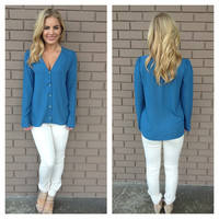 Blue Button Up Letty Blouse