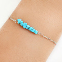 Turquoise bracelet best friend birthday gift for her natural stones dainty bracelet silver plated chain