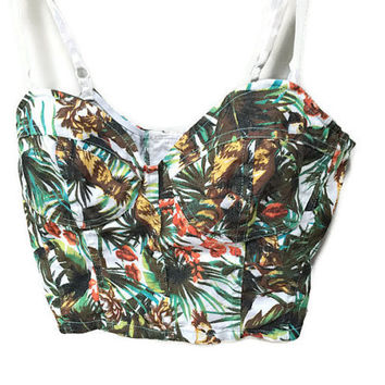 Tropical Bralette, Vintage Crop Top, Hawaiian Print Vintage Bralette, Adjustable Straps Bra Top Bikini Top Cropped Tiki Top Playa Wear Beach