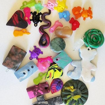 31 charms pendants mixed lot clay pendants plastic charms stone charms jewelry craft supplies