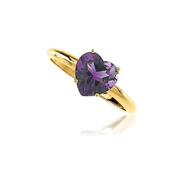 8mm Heart Shaped Amethyst Ring in 14K Yellow Gold