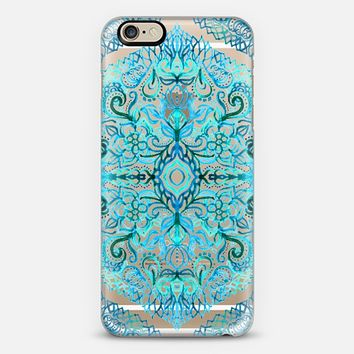 Watercolor Lace Doodle in Bright Blues on Transparent iPhone 6 case by Micklyn Le Feuvre   Casetify