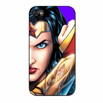 Superman And Wonder Woman Face Couple Right iPhone 4 Case