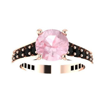 Black Diamond Engagement Ring Morganite Engagement Ring 14K Rose Gold Engagement Ring with 7mm Round Morganite Center - V1081