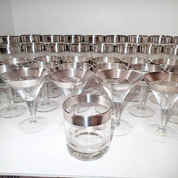 Dorothy Thorpe Glasses Silver Rim Allegro 38 pieces some original labels Vintage Barware, Water Goblets, Iced Tea, Cocktail, Low Ball, Coupe