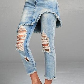 Distressed Skirt Overlay Jeans
