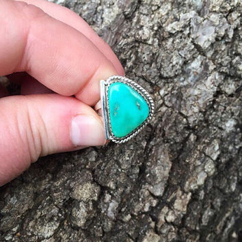 Signed Vintage Harold Trujillo Turquoise and Sterling Silver Ring / Size 8 / Southwestern Jewelry / Navajo American Indian / Boho Bohemian