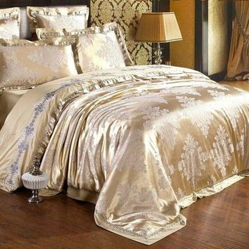 Luxury 4pc. Jacquard Tan Queen Embroidered Duvet Cover Bedding Set