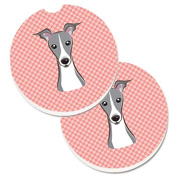 Checkerboard Pink Italian Greyhound Set of 2 Cup Holder Car Coasters BB1236CARC