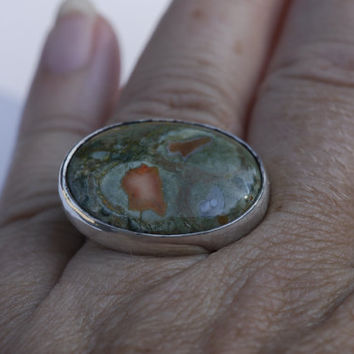 In the forest ring - rhyolite. gemstone ring, woodgrain etched band, handmade, one of a kind, statement ring, bold, green, orange
