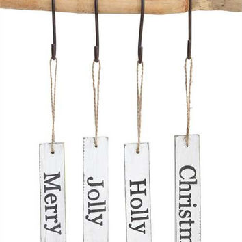 Country Christmas Holiday Sentiment Wood Tag Ornaments - Set of 4