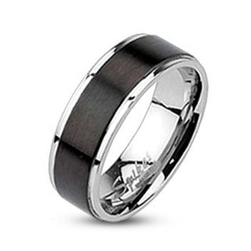 Brushed Black IP Center Band Ring 316L Stainless Steel