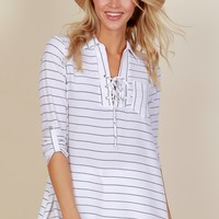 Beach Breeze Striped Tunic White/Black