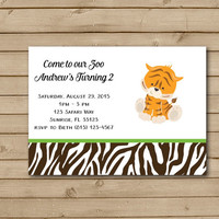 Elephant, Tiger, Zebra, or Lion Birthday Party Invitations