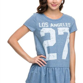 Los Angeles #27 Printed Short Sleeve Terry Tunic Ruffle Flare Bottom Top