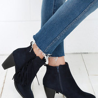 Rodeo Queen Navy Suede Fringe Booties
