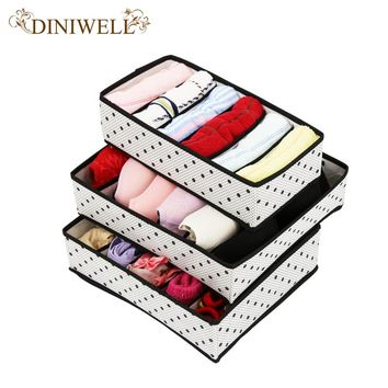 DINIWELL One Set Non-woven Foldable Storage Box Drawer Divider For Tie Socks Underwear Organizer