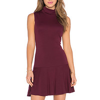 Glenn Drop Waist Turtleneck Dress in Merlot