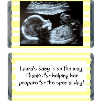 18 Add Your Sonogram Baby Shower Miniature Chocolate Bar Wrappers Yellow