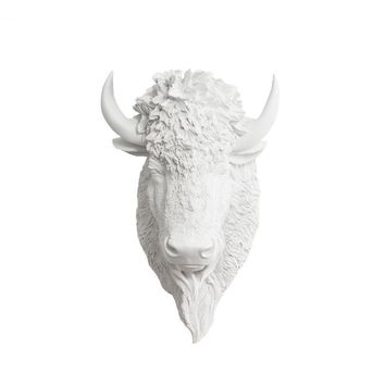 The Yellowstone | Mini Buffalo Bison Head | Faux Taxidermy | White Resin