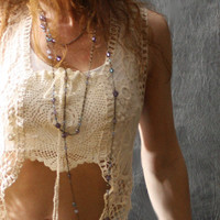 Made to Order Romantic Hippie Summer Layering Crochet Lace Dress Top Vest Vintage Doily Reconstructed Upcycled OOAK Festival Wear