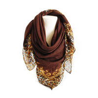 Leopard Pattern scarf, women scarf, scarves, Circle scarf, cotton scarf, fall, winter fashion, fall colors, autumn, brown scarf, scarves