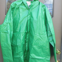 vtg  emarald green  Raincoat  Mod Jacket Slicker Vinyl hooded  Jacket PVC  Raincoat  Vintage Clothing  Size LARGE   Us Camper