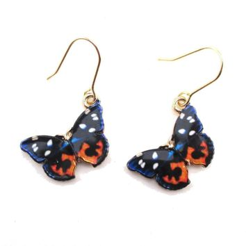 Blue Black Orange Butterfly Shaped Dangle Earrings