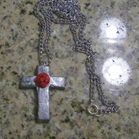 Silver Cross WIth Rose - Necklace Red Holy Rosery Shiny Shining ooak Crucifix Rosary Catholic Christian Unique Jewelry Jewellery Clay grey