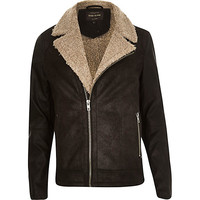River Island MensBlack leather-look shearling biker jacket
