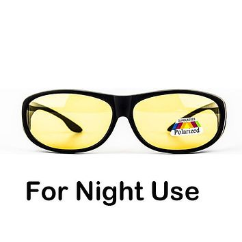 Night driving Polarized fitover fit over sunglasses block high beam light wear on prescription glasses
