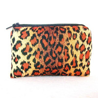 "Cheetah Print Cotton Padded Pipe Pouch 4"" / Glass Pipe Case / Spoon Cozy / Piece Protector / Pipe Bag / MINI"