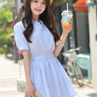 Short-Sleeved Shirt Cotton High Waist Mini Dress