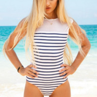 Beach Fashion Stripe One Piece Swimsuit Swimwear