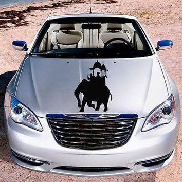 Car Hood Vinyl Decal Graphics Stickers Art Mural Animals Elephant Ride KJ1224