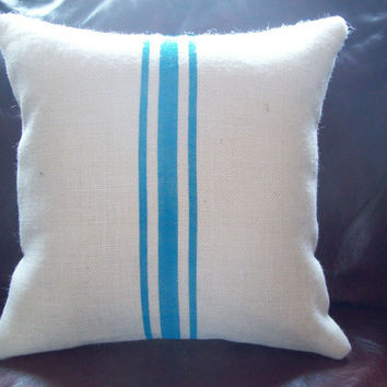 Burlap Grain Sack Decorative Pillow Cover with Turquoise Stripes 16 x 16 by North Country Comforts