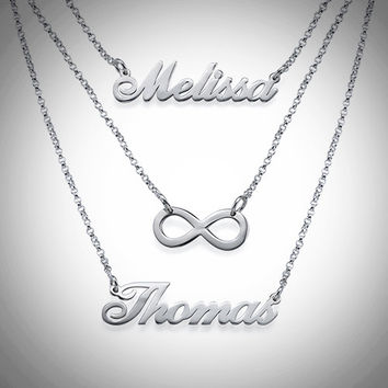 Sterling 0.925 Silver Layered Name Necklace