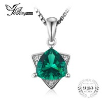 JewelryPalace Top Triangle Shape 1.68ct Created Emerald Pendant For Women Real 925 Sterling Silver Jewelry Not Include the Chain