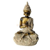 Hand Carved Meditation Buddha Seated Deity Luck Wealth Hindu Statue Decor #2