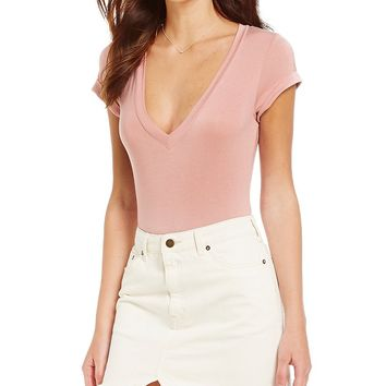 Free People Me Oh My V-Neck Short Sleeve Solid Knit Bodysuit | Dillards
