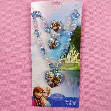 3pcs Anna Elsa Princess Little Ponys Pendant Necklaces For Kids Child Girls Jewelry Set Cosplay Accessories Character Figure 4