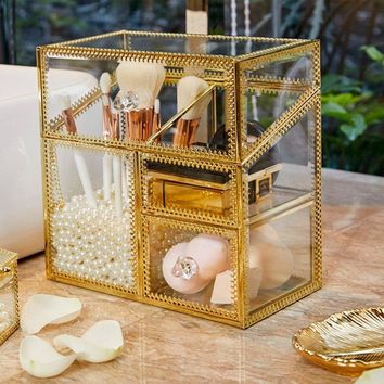 Metal jewellery box makeup brush frame