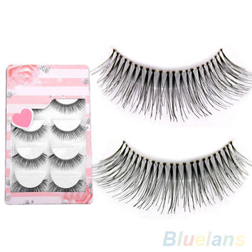 5 Pairs Natural Sparse Cross Eye Lashes Extension Makeup Long False Eyelashes 2IDC